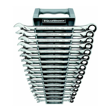 GearWrench 85099 16-Piece 12-Point Metric XL Combination Ratcheting Wrench Set