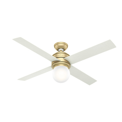 Hunter 59320 52 in. Hepburn Modern Brass Ceiling Fan with Light and Wall Control image number 0
