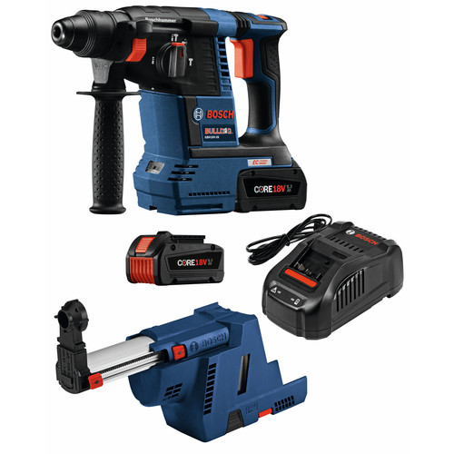 Bosch GBH18V-26K24GDE 18V EC Brushless 1 in. SDS-plus Bulldog Rotary Hammer Kit with (2) CORE18V 6.3 Ah Batteries and Dust-Collection Attachment image number 0