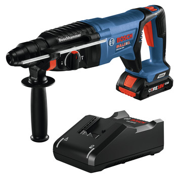 Bosch GBH18V-26DK15 18V EC Brushless SDS-Plus Bulldog 1 in. Rotary Hammer Kit with CORE18V 4.0 Ah Compact Battery image number 0