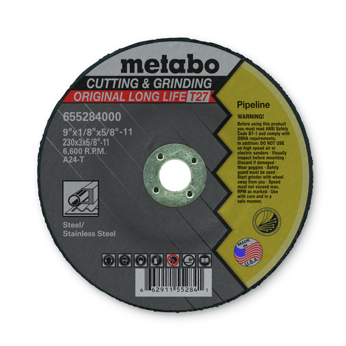 Metabo 655284000-10 9 in. x 1/8 in. A24T Type 27 Pipeline Grinding/Notching/Cutting Wheels (10-Pack)