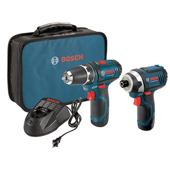 Factory Reconditioned Bosch CLPK22-120-RT 12V Max Lithium-Ion 3/8 in. Cordless Drill/Driver and Impact Driver Combo Kit (2 Ah)