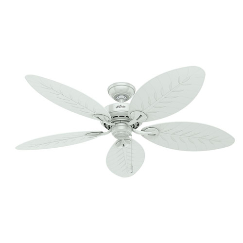 Hunter 54097 54 in. Bayview White Wicker ETL Damp Rated Outdoor Ceiling Fan