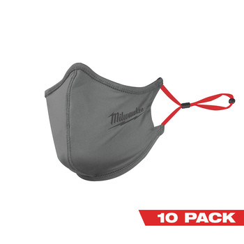 Milwaukee 48-73-4232 10-Piece 2-Layer Face Mask Set - Gray