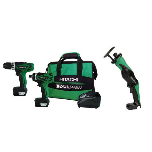 Hitachi KC10DFLPR-BNDL 12V 1.5 Ah Cordless HXP Lithium-Ion Micro Drill, Impact Driver & Reciprocating Saw Combo Kit
