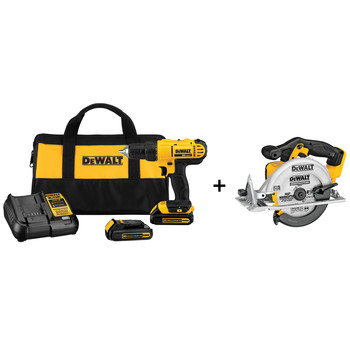 Dewalt DCD771C2 & DCS391B 20V MAX Cordless Lithium-Ion 1/2 in. Compact Drill Driver Kit with 20V MAX Cordless Lithium-Ion 6-1/2 in. Circular Saw