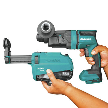 Makita XRH12ZW 18V LXT Lithium-Ion Brushless 11/16 in. AVT SDS-PLUS AWS Capable Rotary Hammer with HEPA Dust Extractor (Tool Only) image number 4