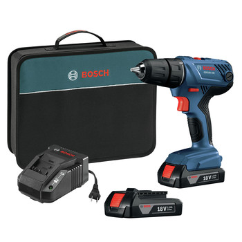 Bosch GSR18V-190B22 18V Compact Lithium-Ion 1/2 in. Cordless Drill/Driver Kit (1.5 Ah)