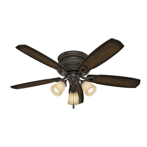 Hunter 53356 52 in. Traditional Ambrose Bengal Ceiling Fan with Light (Onyx)