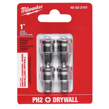 Milwaukee 48-32-2101 4-Piece SHOCKWAVE 1/4 in. Hex Drywall Screw Setter Bit Set image number 2