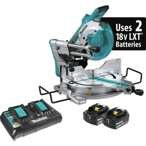 Makita XSL04PTU 18V X2 LXT Lithium-Ion (36V) Brushless Cordless 10 in. Dual-Bevel Sliding Compound Miter Saw Kit with AWS and Laser (5.0Ah)