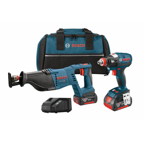 Bosch CLPK204-181 18V Lithium-Ion 1/4 in. Socket Ready Impact Driver and Reciprocating Saw