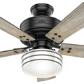 Hunter 54149 44 in. Cedar Key Matte Black Outdoor Ceiling Fan with Light and Integrated Control System-Handheld image number 7