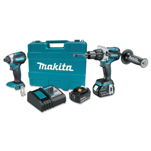 Makita XT267M 18V 4.0 Ah LXT Cordless Lithium-Ion Brushless Hammer Drill and Impact Driver Combo Kit