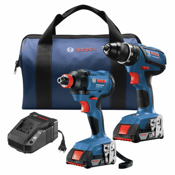 Bosch GXL18V-232B22 18V Compact Tough Lithium-Ion 1/2 in. Cordless Drill Driver / 1/4 in. and 1/2 in. 2-in-1 Bit/Socket Cordless Impact Driver Combo Kit (2 Ah) image number 0