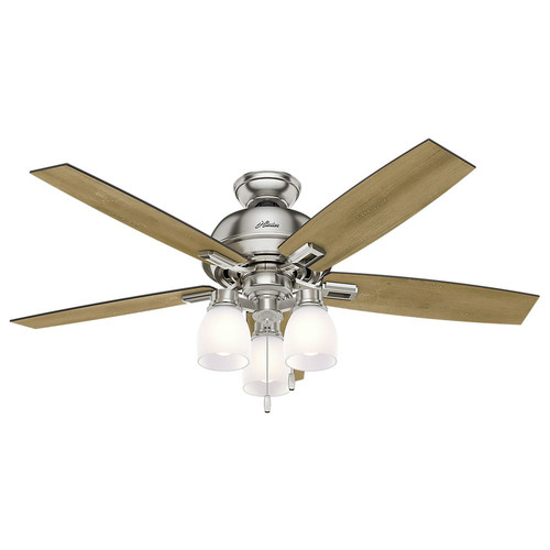 Hunter 53338 52 in. Donegan Brushed Nickel Ceiling Fan with Light