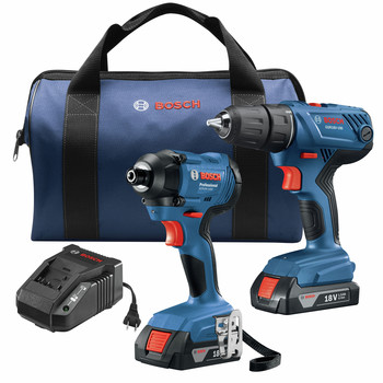 Bosch GXL18V-26B22 18V 2-Tool Combo Kit with 1/2 In. Compact Drill/Driver and 1/4 In. Hex Impact Driver image number 0
