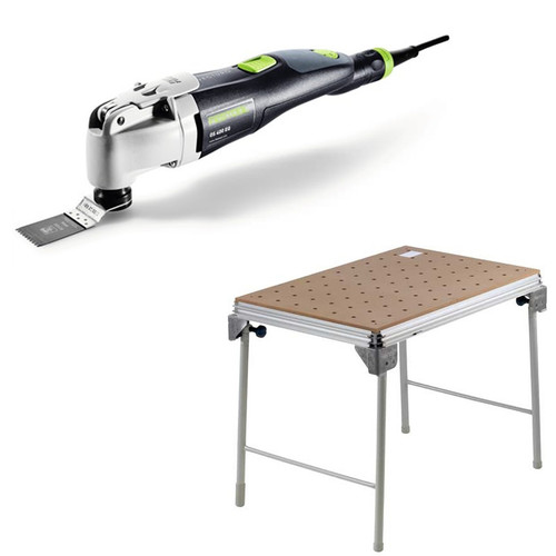 Festool OS 400 Vecturo 3.3 Amps Oscillating Multi-Tool Kit plus MFT/3 Basic  Multi-Function Work Table