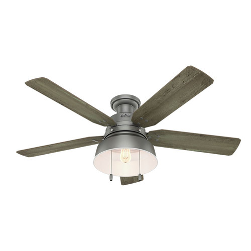 Hunter 59311 52 in. Mill Valley Matte Silver Ceiling Fan with Light