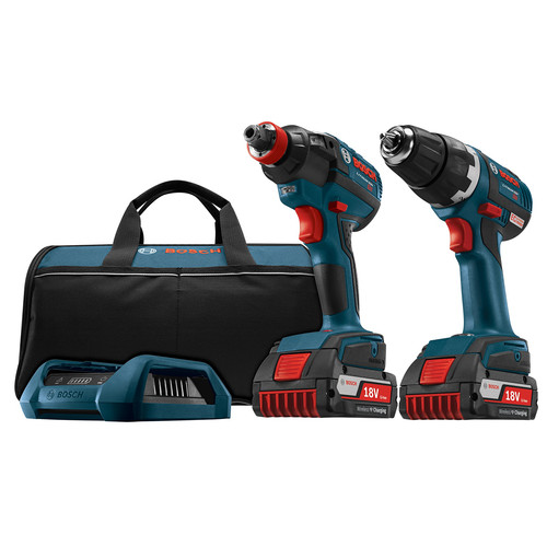 Bosch CLPK233WC-02 18V Cordless Lithium-Ion Brushless Drill Driver and Impact Driver Combo with Wireless Charger