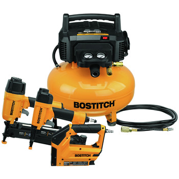 Bostitch BTFP3KIT 3-Piece Nailer and 0.8 HP 6 Gallon Oil-Free Pancake Air Compressor Combo Kit