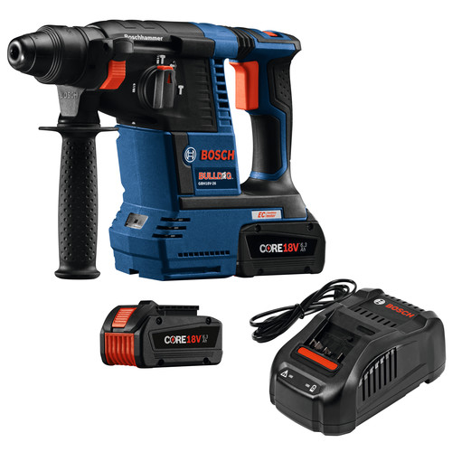 Factory Reconditioned Bosch GBH18V-26K24-RT 6.3 Ah Cordless Lithium-Ion Brushless 1 in. SDS-Plus Bulldog Rotary Hammer Kit