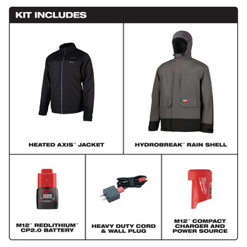 Milwaukee 203RN-21L M12 3-in-1 Heated AXIS Jacket Kit with Rainshell image number 1
