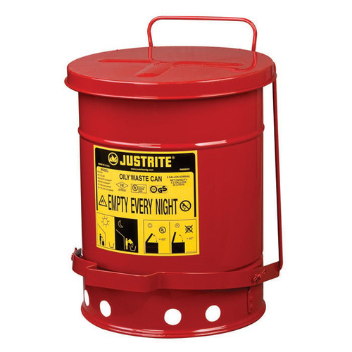 Justrite 09100 Oily Waste Can, 6gal, Red image number 0