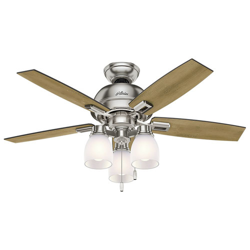 Hunter 52230 44 in. Donegan Brushed Nickel Ceiling Fan with Light