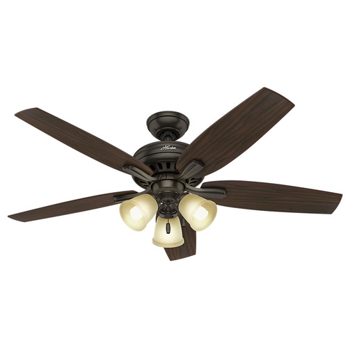 Hunter 53317 52 in. Newsome Premier Bronze Ceiling Fan with Light