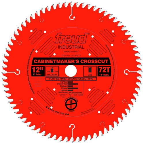 Freud LU73R012 12 in. 72 Tooth Cabinetmaker's Crosscut Saw Blade with PermaShield