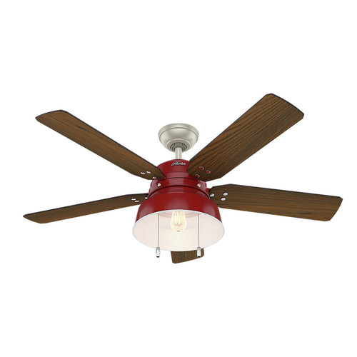 Hunter 59309 52 in. Mill Valley Barn Red Ceiling Fan with Light