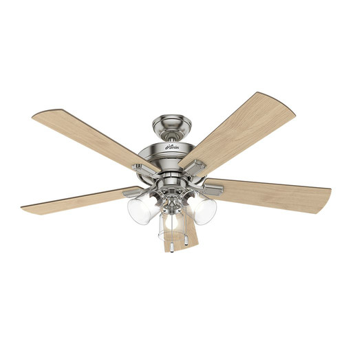 Hunter 54206 52 in. Crestfield Brushed Nickel Ceiling Fan with Light image number 0