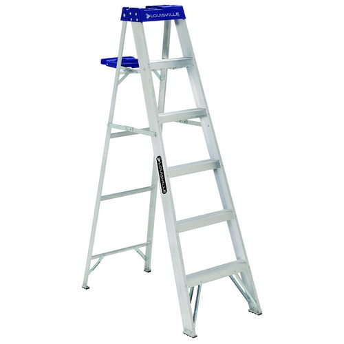 Louisville AS2106 6 ft. Type I Duty Rating 250 lbs. Load Capacity Aluminum Step Ladder with Molded Pail Shelf