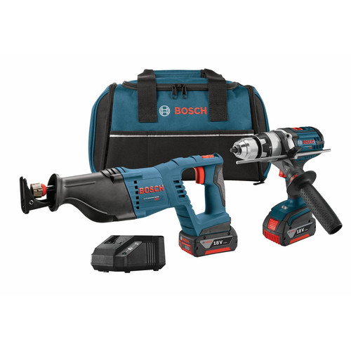 Bosch CLPK203-181 18V Cordless Lithium-Ion 1/2 in. Hammer Drill Driver and Reciprocating Saw
