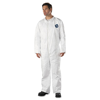 DuPont TY120SWH3X002500 Tyvek Coveralls, Open Wrist/Ankle, HD Polyethylene, White, 3X-Large, 25/Carton image number 0