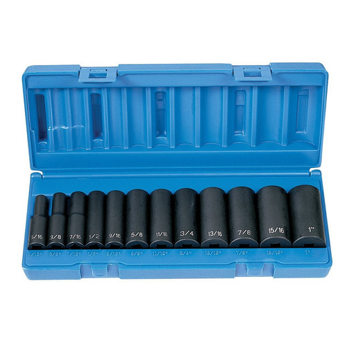 Grey Pneumatic 1213D 12-Piece 3/8 in. Drive 6-Point SAE Deep Impact Socket Set image number 0