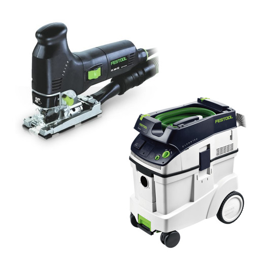 Festool PS 300 EQ Trion Barrel Grip Jigsaw with CT 48 E 12.7 Gallon HEPA Dust Extractor