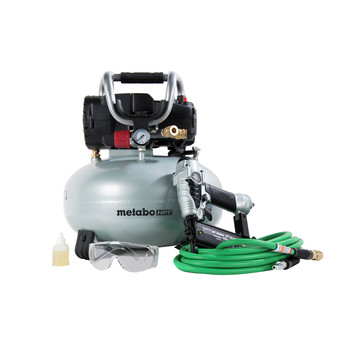 Factory Reconditioned Metabo HPT KNT50ABM 18 Gauge Brad Nailer and Pancake Compressor Finish Combo Kit