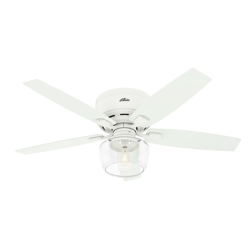 Hunter 50280 52 in. Bennett Low Profile Matte White Ceiling Fan with Globe LED Light Kit and Remote image number 0