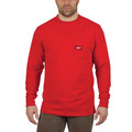 Milwaukee 602R-XL Heavy Duty Long Sleeve Pocket Tee Shirt - Red, X-Large image number 1