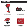 Milwaukee 2855P-22 M18 FUEL Lithium-Ion Brushless Compact 1/2 in. Cordless Impact Wrench Kit with Pin Detent (5 Ah) image number 3