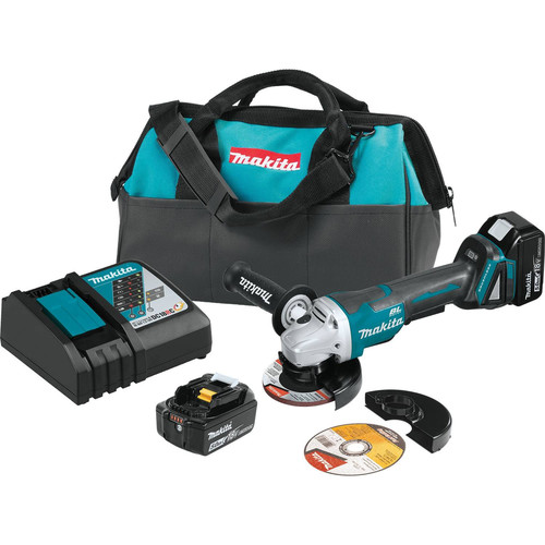 Makita XAG11T 18V LXT Lithium-Ion Brushless Cordless 4-1/2 / 5 in. Paddle Switch Cut-Off/Angle Grinder Kit with Electric Brake (5.0Ah)