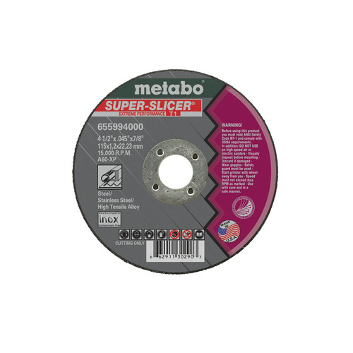 Metabo 655995000-50 6 in. x 0.045 in. A60XP Type 1 SUPER-SLICER Extreme Performance Cutting Wheels (50-Pack)