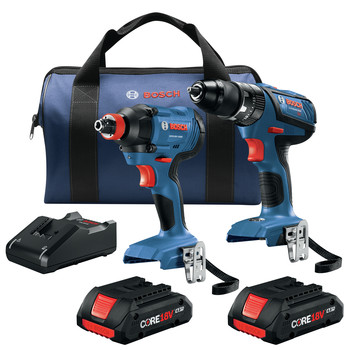 Factory Reconditioned Bosch GXL18V-239B25-RT 18V 2-Tool 1/2 in. Hammer Drill Driver and 2-in-1 Impact Driver Combo Kit with (2) CORE18V 4.0 Ah Lithium-Ion Compact Batteries