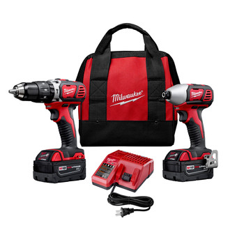 Milwaukee 2697-22 M18 Lithium-Ion 1/2 in. Hammer Drill and Impact Driver High Performance Combo Kit image number 0