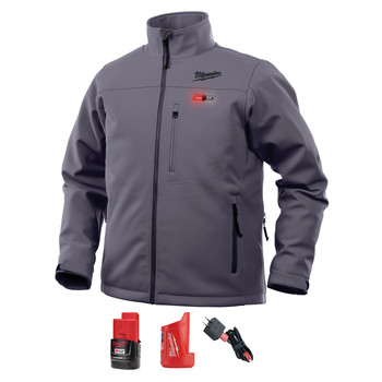 Milwaukee 202G-212X M12 Heated TOUGHSHELL Jacket Kit - Gray, 2X image number 0