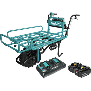 Makita XUC01PTX2 18V X2 LXT Brushless Cordless Power-Assisted Hand Truck/Wheelbarrow Kit with Flat Bed (5.0Ah) image number 0