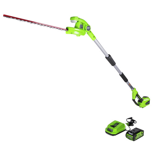 Greenworks 2300402 PH40B210 22 in./40V Cordless Pole Hedge Trimmer with 2.0 Ah Battery
