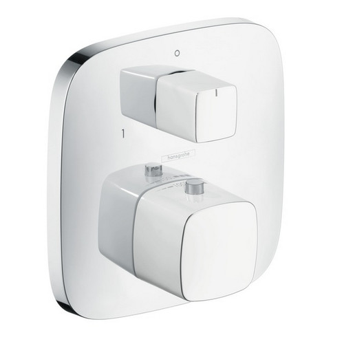 Hansgrohe 15771401 PuraVida Thermostatic Trim with Volume Control & Diverter (White/Chrome)